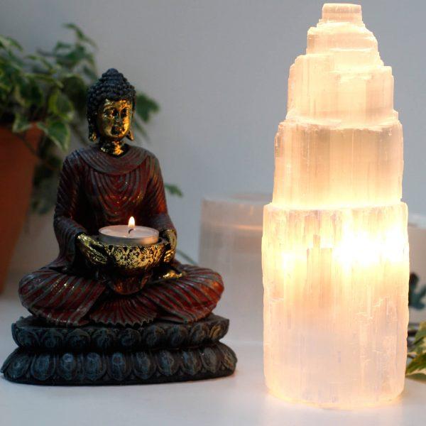 Naturalna Lampa z Selenitu 25cm
